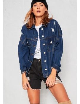 Zuri Indigo Distressed Oversized Denim Jacket by Missy Empire