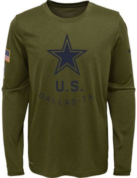 Nike Youth Salute To Service Dallas Cowboys Legend Long Sleeve Shirt by Nike