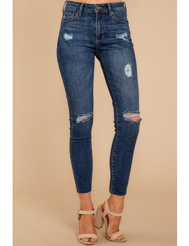 Make It Different Dark Wash Distressed Skinny Jeans by Just Usa