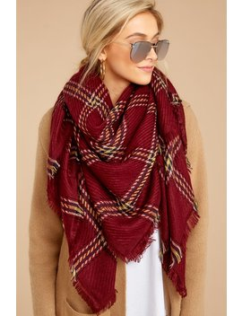 Chilled For The Day Burgundy Plaid Scarf by Jasmine Trading Corp