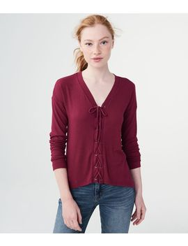 Long Sleeve Solid Lace Up V Neck Tee by Aeropostale