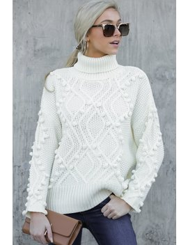 As Luck Would Have Knit Cream Turtleneck Sweater by Renee C