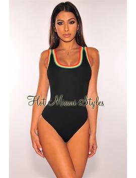Black Rainbow Striped Bodysuit by Hot Miami Style