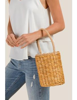Uma Woven Straw Basket Tote by Francesca's