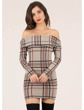 Grid Job Off Shoulder Plaid Minidress by Go Jane