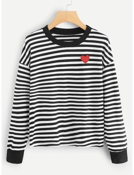 Heart Embroidery Striped Tee by Sheinside