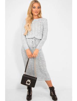 Grey Cable Knit Drawstring Waist Dress   Rhea by Rebellious Fashion