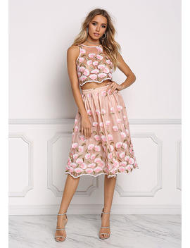 Pink Floral Embroidered Tulle A Line Skirt by Love Culture
