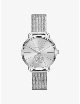 Portia Mesh Silver Tone Watch by Michael Kors
