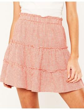 Gingham Tiered Skirt by Glassons