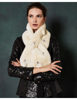 Embellished Faux Fur Scarf by Ted Baker
