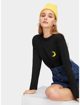 Moon Embroidered Jumper by Romwe