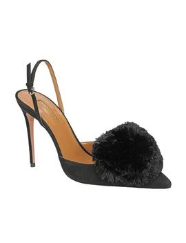 Powder Puff Suede Slingback Pump   Black by Aquazzura