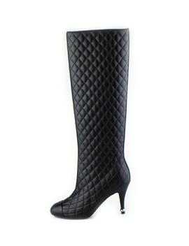 Quilted Leather Knee High Boots   Black by Chanel