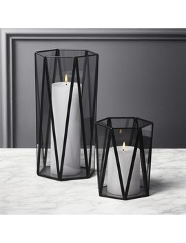 Luce Smoke Glass Hurricanes by Crate&Barrel