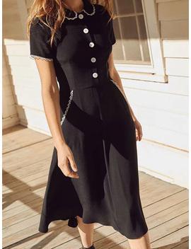 Black Cotton Lapel Button Placket Front Women Midi Dress by Choies