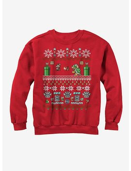 Nintendo Mario And Bowser Ugly Christmas Sweater Sweatshirt by Hot Topic