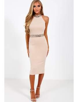 Opulent Nude Embellished Halterneck Midi Dress by Pink Boutique