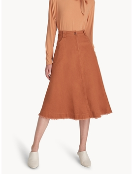 Midi Denim Flare Skirt   Orange by Pomelo