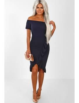 Zsa Zsa Navy Frill Hem Bardot Wrap Front Mini Dress by Pink Boutique