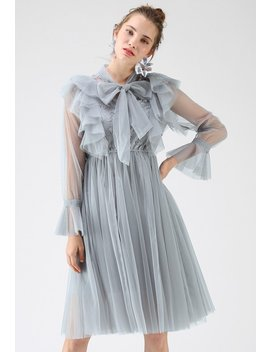 Floral And Ruffle Bowknot Tulle Dress In Dusty Blue by Chicwish