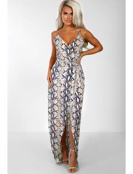 Snake Hips Nude Multi Snake Print Wrap Maxi Dress by Pink Boutique