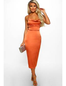 Oh So Stunning Rust Satin Cowl Cross Strap Back Midi Dress by Pink Boutique