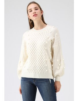 Just Like Honey Pom Pom Knit Sweater In White by Chicwish