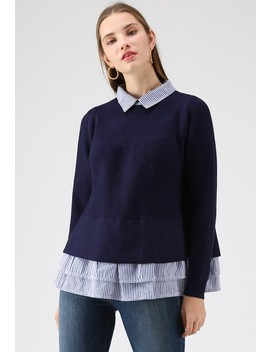 Show Your Stripes Knit Top In Navy by Chicwish