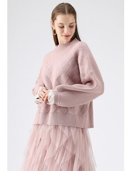 Mellow Diamond Knit Sweater In Pink by Chicwish