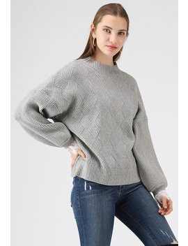 Mellow Diamond Knit Sweater In Grey by Chicwish
