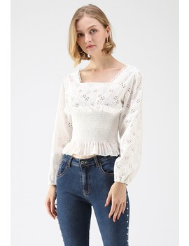 Falling In Eyelet Embroidery Top In White by Chicwish