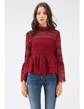 Madly In Love Full Crochet Peplum Top In Wine by Chicwish