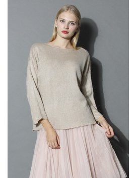 Tie A Ribbon Bow Knit Top In Beige by Chicwish