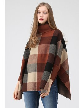 Lie In Check Fields Turtleneck Cape Sweater In Caramel by Chicwish