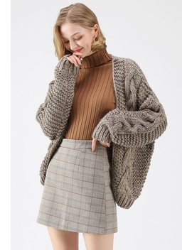 Good To Be Chunky Knit Cardigan In Stone by Chicwish