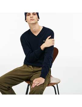 Men's V Neck Caviar Piqué Accent Cotton Jersey Sweater by Lacoste