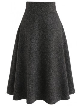 There For You Wool Blended A Line Midi Skirt In Black by Chicwish