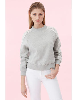 La Vie Eyelet Fleece Sweatshirt by Rebecca Taylor