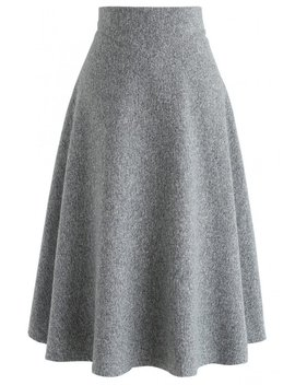 There For You Wool Blended A Line Midi Skirt In Grey by Chicwish