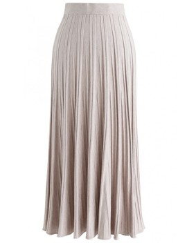 Stay With Knit Maxi Skirt In Sand by Chicwish