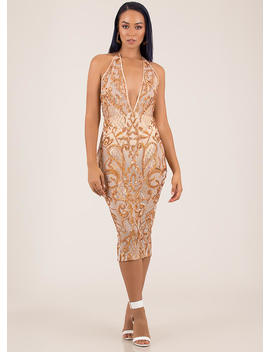 Hollywood And Vine Sequined Mesh Dress by Go Jane