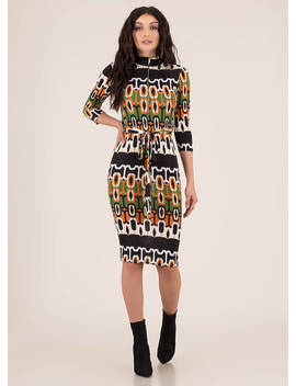 Vintage Vibe Tied Geometric Print Dress by Go Jane