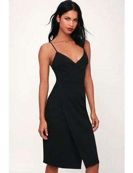 Have You Heard Black Surplice Midi Dress by Lulus