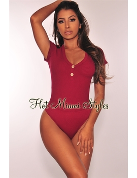 Wine Ribbed Knit Button Short Sleeves Bodysuit by Hot Miami Style