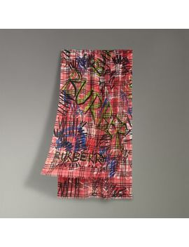 Graffiti Print Vintage Check Wool Silk Scarf by Burberry