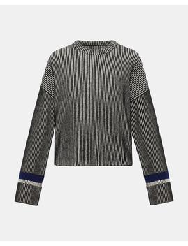 Stripe Mix Crewneck Sweater by Theory