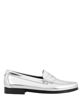 Whitney Metallic Silver Loafers by Re/Done X Weejuns