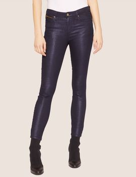 J05 Super Skinny High Shine Cropped Jean by Armani Exchange