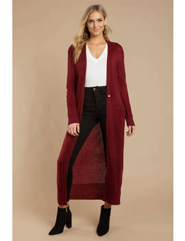Lucid Dreams Wine Longline Knit Cardigan by Tobi